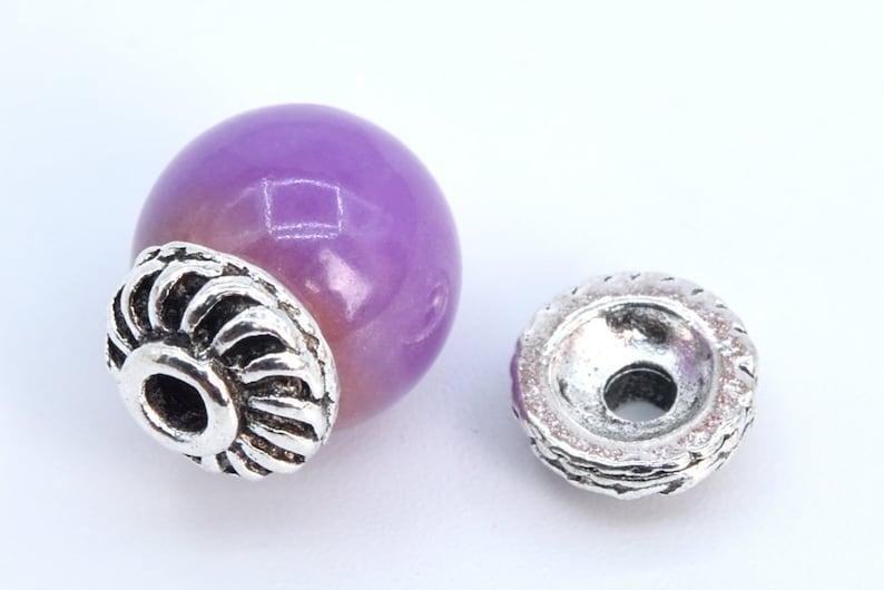 7x2MM Round Bead Cap Antique Silver Tone Zinc Alloy Bead Cap 50 Pcs 63160-2342