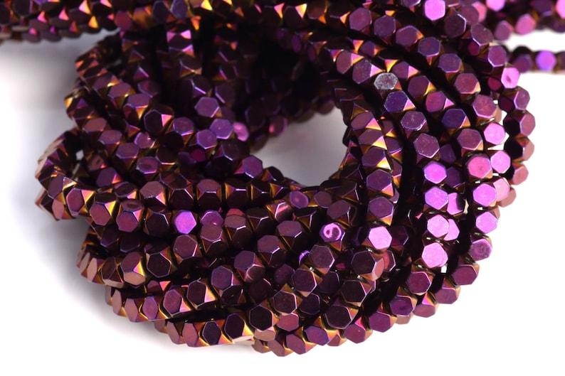 3MM Purple Hematite Beads Octagon Cube Grade AAA Natural Gemstone Loose Beads 149 Pcs 104697