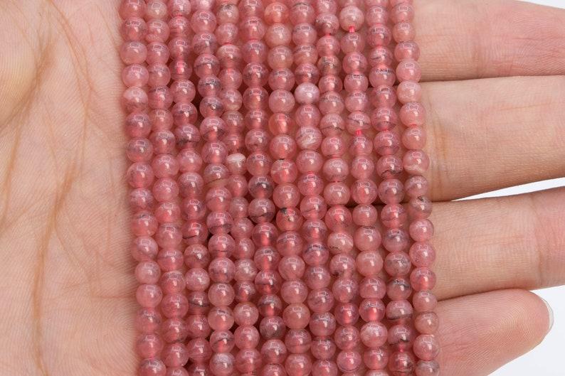 90 Pcs 4MM Transparent Pink Rhodochrosite Beads Argentina Grade AAA Genuine Natural Round Gemstone Loose Beads 112094