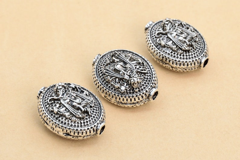 26x20MM Antique Silver Tone Oval Spacer Beads 63929-2424 5 Pcs