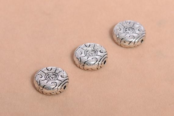 12 mm Antique Slver Floral Design Round Connector Bead Spacer Bead AKS 152 Antique Silver Filigree Spacer Bead Round Spacer Bead