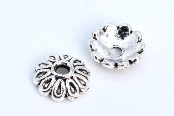 8x4MM Floral Bead Cap Antique Silver Tone Zinc Alloy 30 Pcs Bulk Lot Options 63087-2348