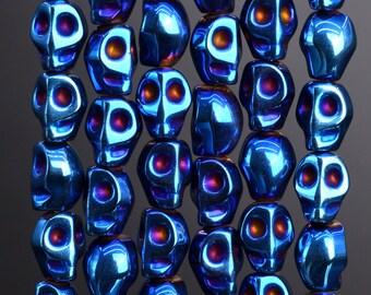 49 Pcs  / 24 Pcs - 8x6MM Blue Hematite Beads Skull Grade AAA Natural Gemstone Loose Beads (104668)