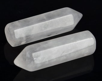2 Pcs - 30x8MM Crystal Clear Quartz Beads Healing Hexagonal Pointed Grade A Genuine Natural Gemstone Loose Beads (104396)