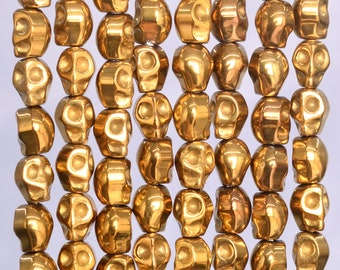 69 Pcs / 33 Pcs - 6x4MM Gold Hematite Beads Skull Grade AAA Natural Gemstone Loose Beads (104846)