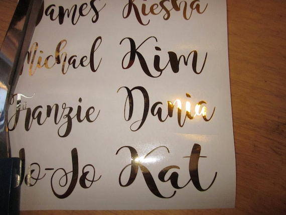 Gold Mirror Color Custom Name Vinyl Decal Personalized Wine Etsy