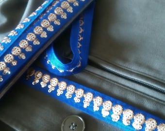Cobalt blue braid embroidered motifs 2cm