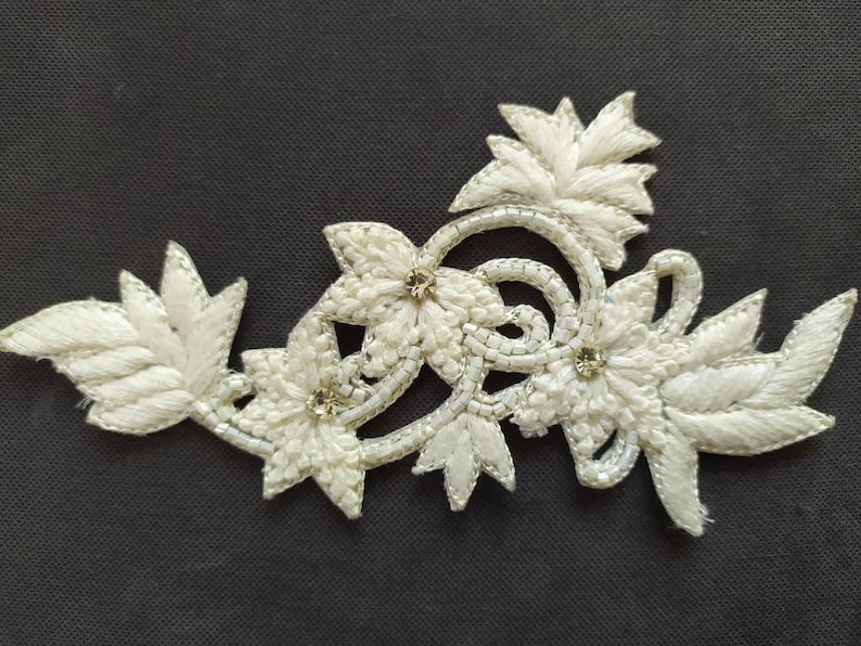 Applied embroidered White Flower