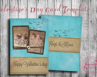 Valentine's Day Card Template, Valentine's Day Card for Photoshop, Holiday Card Templates, Photography Templates