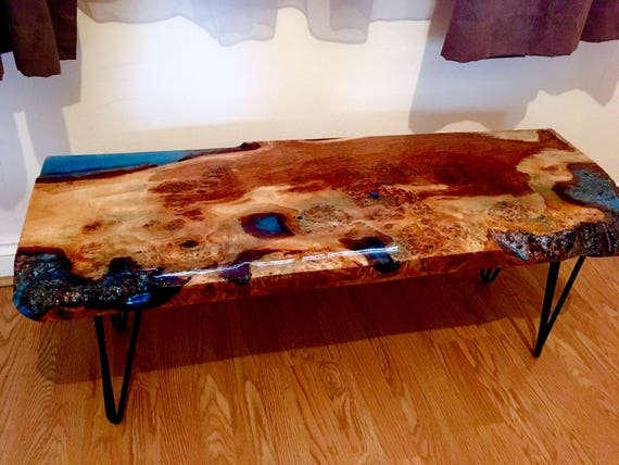 Sold Burr Oak Live Edge Character Epoxy Resin Coffee Table Etsy