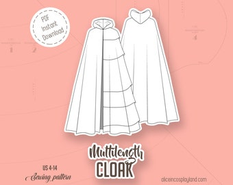 Cloak pattern with a choice of two hoods and 6 different lengths - Cosplay for adults PDF download - Witch, Magician or LARP costume DIY