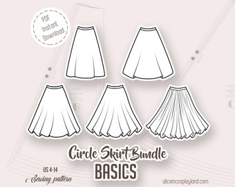 Circle skirt sewing pattern bundle. Includes a quarter of a circle, a half circle, a three quarter circle, a full circle and a double circle