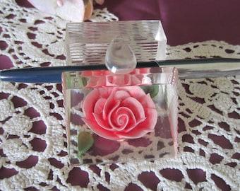 Vintage Bircraft lucite Paperweight/Pen holder pink rose office supply desk accessory organizer 1950's table decor
