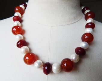 Vintage Necklace with large Carnelian Round and Faceted Beads plus Large Freshwater Pearls - Gemstone Necklace