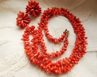 Vintage Natural Coral Branch Necklace with Matching Clip on Earrings