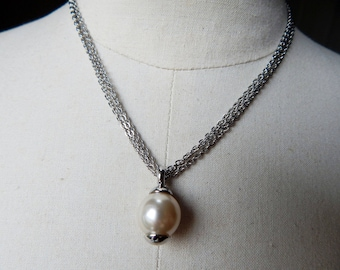 Vintage Signed Ciro Glass Pearl Drop Silver Plated Pendant Necklace