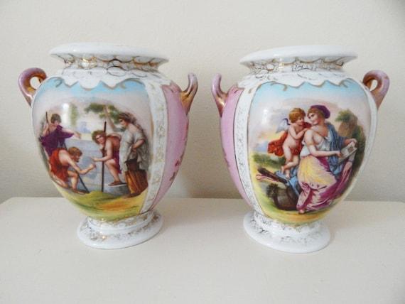 A Pair Of Shierholz Plaue Antique German Porcelain Urn Vases Etsy