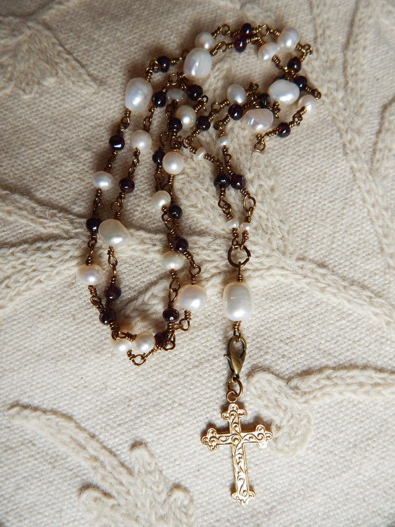 Garnet and Pearl Rosary Style Necklace with Detachable Vintage Cross Pendant