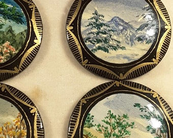 Set of 4 Blue Ridge Parkway scenes (hand painted/crafted Paper Mache buttons.)