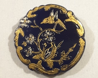Early 1900's hand painted blue glass button.