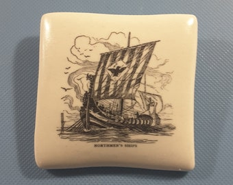 Large Jasperware Viking ship button.