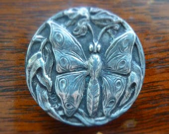 Silver Art Nouveau butterfly button - early 1900's.