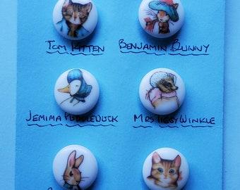 Vintage set of six Beatrix Potter buttons.