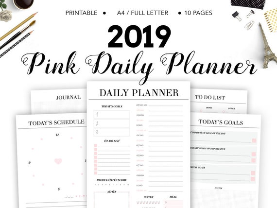 2019 Daily Planner, Daily Printable Planner, Printable Pages, Daily  Organizer, Printable, Instant download PDF, To Do List, Daily Schedule