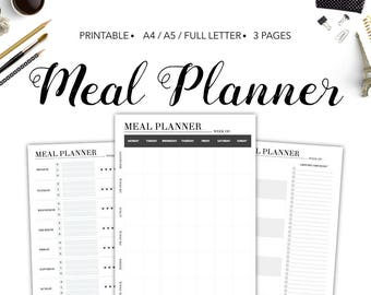 Meal Planner, Meal Planner Printable, Menu Planner Printable, Grocery Checklist, Meal Plan Printable, PDF Printable, Instant Download