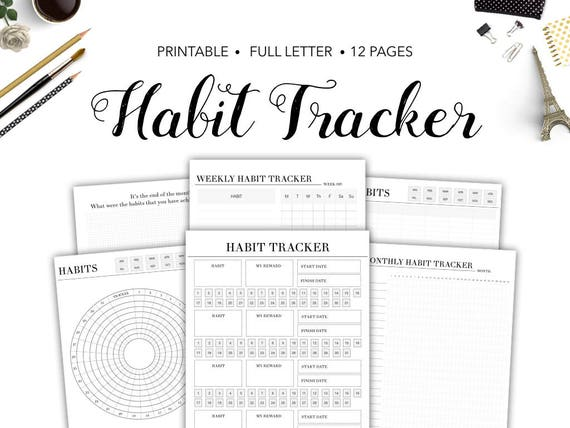 habit tracker printable habit tracker monthly habit tracker etsy