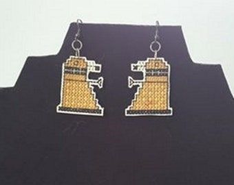Dalek Cross stitch Earrings
