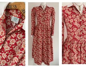 34cb1cea7e Vintage (12) Laura Ashley Red floral Dress ~ Size 12