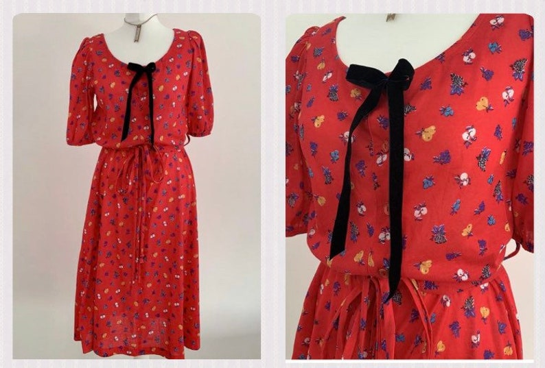 FRUIT PRINT Original 80s Dress ~ Size UK 12 Medium ~ Spring Summer Everyday Relaxed ~ Velvet Pussy Bow Peter Pan Collar Midi Vintage Dress