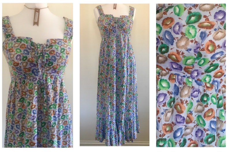 4f4c1ac4961 Vintage early 1990s Summer Strappy Dress Size 10 12