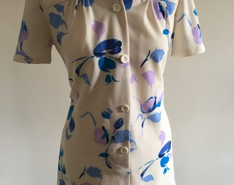 Vintage 1970s Cream and White Floral Dress ~ Size 12/14