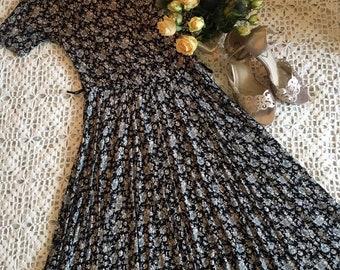 Vintage 1990s black and grey floral St. Michael Dress - Size 10