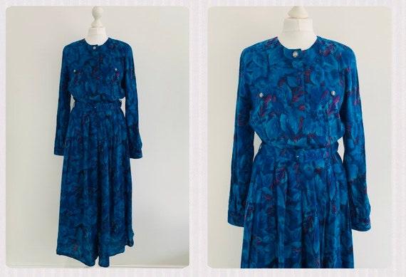 Marion Donaldson Teal and Purple Autumn Winter Dress ~ Size 1012 Vintage 12