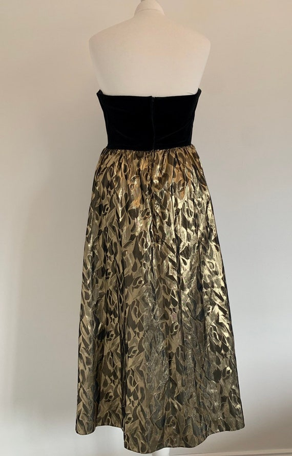 Vintage 12 Principals Evening Gold and Black Velvet Bodice Sweetheart Occasion Christmas Dress ~ Size 12