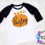 SALE Custom name glitter pumpkin shirt -halloween shirt- fall shirt - picture shirt -baby girl -toddler girl - fall gift shirt