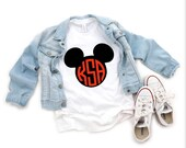 Custom Disney Mickey Monogram Tee Vinyl or Sublimation Faded Unisex Bella Canvas Triblend Tees Adult Youth Toddler Infant