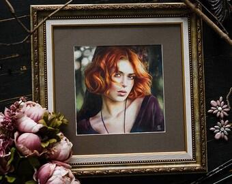 Portrait of a ginger girl. Original watercolor+pastel painting 20х20 cm.