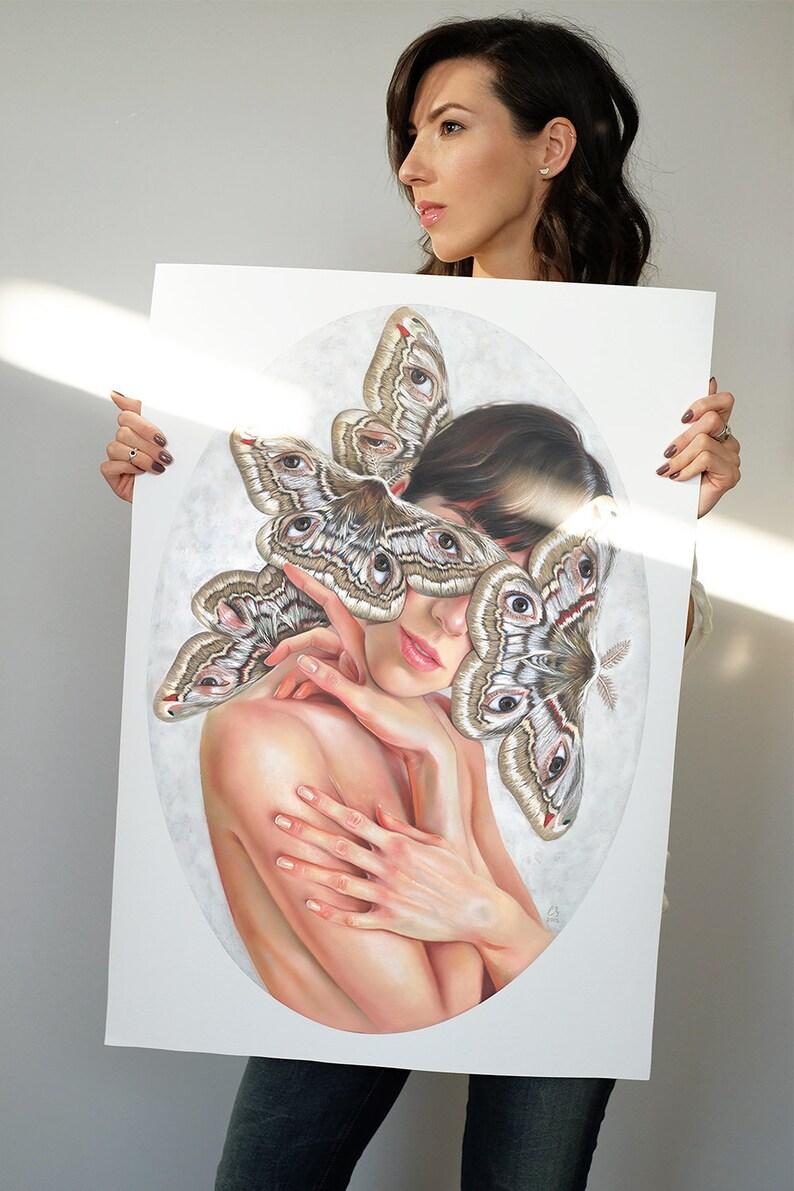 Oval art strange print Moths art Butterfly Eyes Pastel image 0