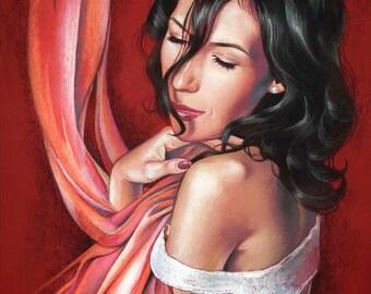 Red painting, Original pastel art 45х65 cm, Wall art, Woman, Bright art