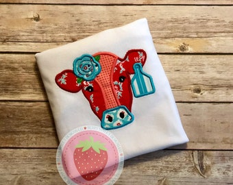 Patch work cow embroidered appliqué design shirt
