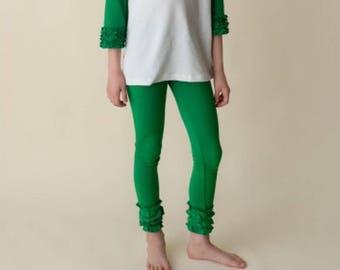Green Ruffle Leggings