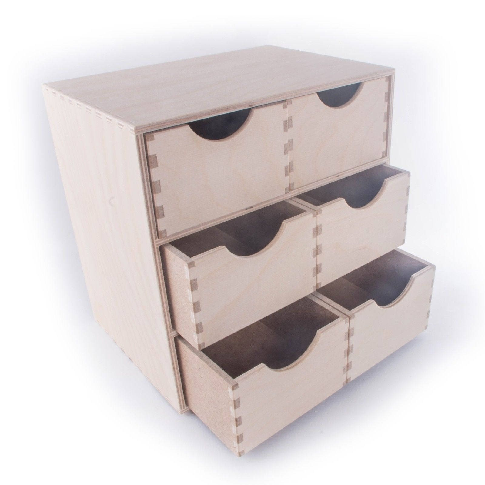 Wooden Mini Chest Of Drawers Storage Box Organiser Plain Unpainted 6 Drawers Plywood L280mm X D200mm X H280mm