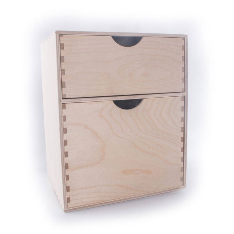 Wooden Plain Desk Organiser Chest Of Drawer Storage Box With 2 Drawers L250mm X D200mm X H310mm