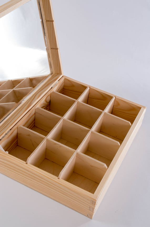 H6 Wooden Tea Bag Box 6 Compartments Sections Storage Caddy Chest Organiser