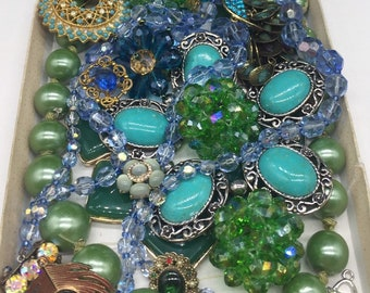Bohemian Glass Pearl Bead Vintage Jewelry Salvage 1lb clasps findings bits!