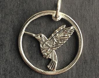 1 Humming bird charm antique silver tone B115